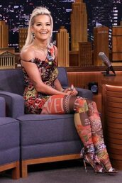 shoes,multicolor,rita ora,tights,sandals,dress,colorful