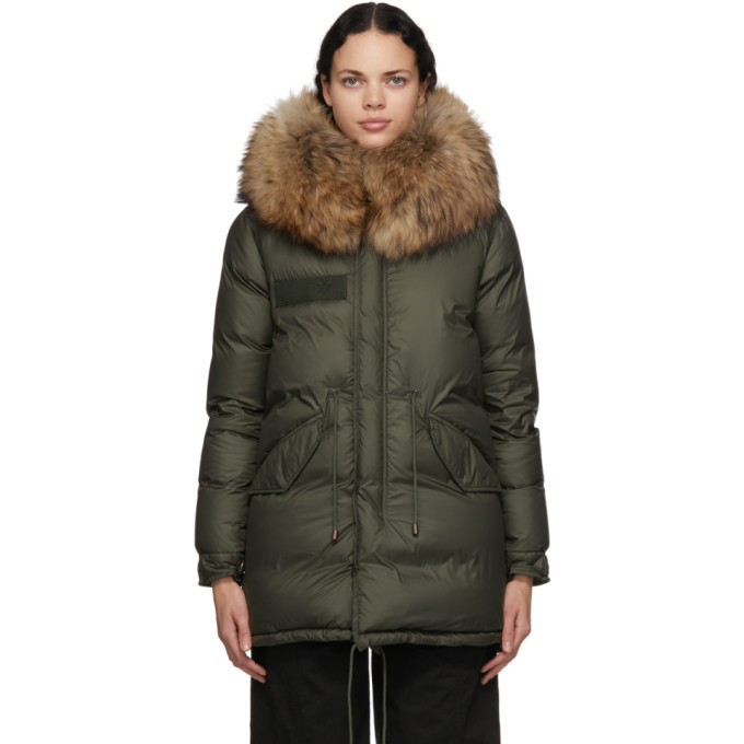 Mr and Mrs Italy Green Down Parka in natural
