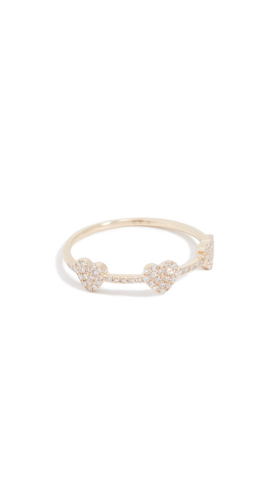 EF Collection 14k Diamond Triple Mini Heart Stack Ring in gold / yellow
