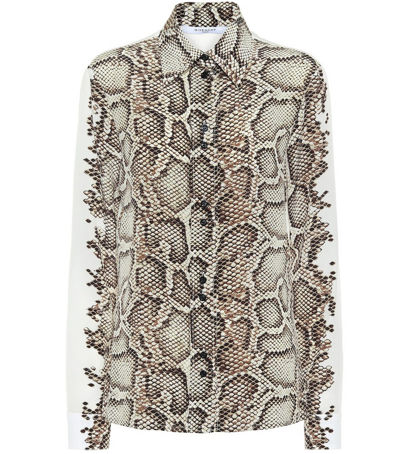 Givenchy Snake-print silk shirt in beige