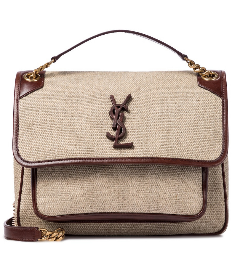 Saint Laurent Niki Medium linen shoulder bag in beige