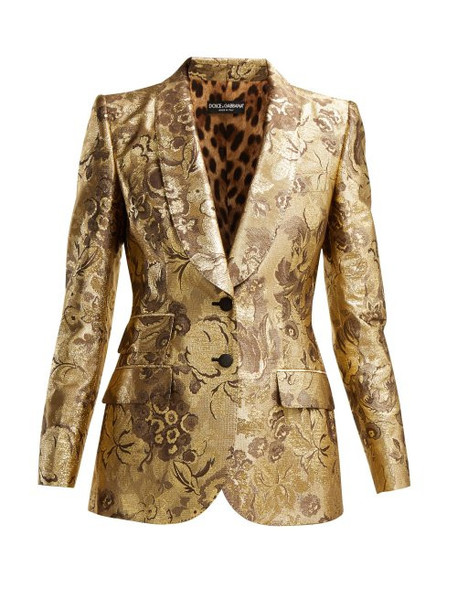 Dolce & Gabbana - Single Breasted Floral Jacquard Blazer - Womens - Gold