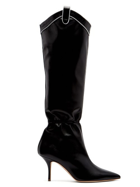 Malone Souliers - Daisy Ruched Western Leather Boots - Womens - Black