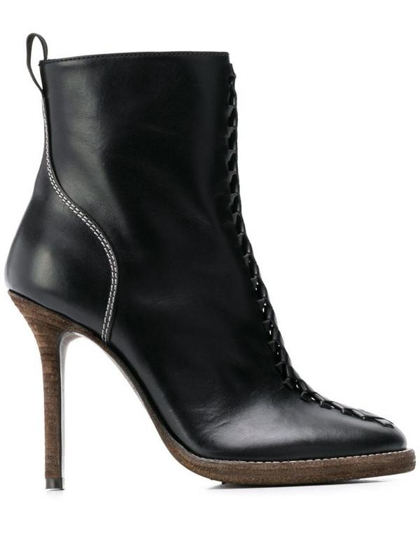 Haider Ackermann woven stiletto boots in black