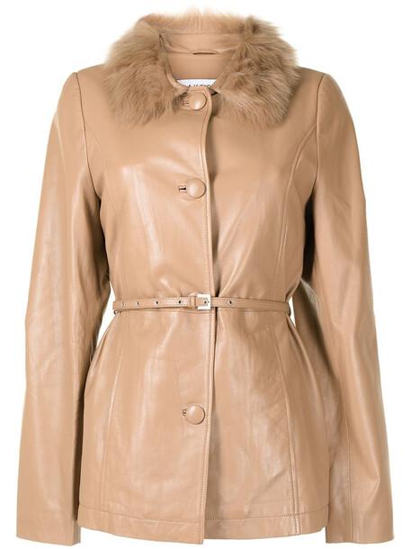 Saks Potts belted-waist leather jacket - Brown