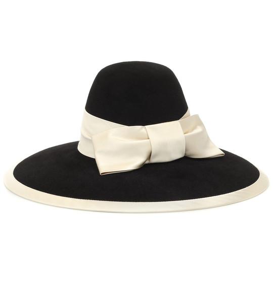 Gucci Bow-embellished felt hat in black