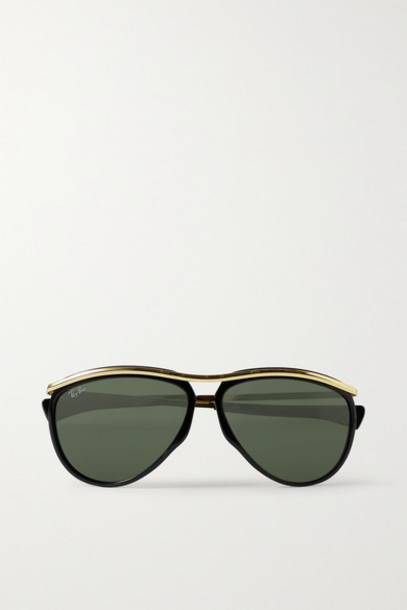Ray-Ban - Olympian Aviator Acetate And Gold-tone Sunglasses - Black
