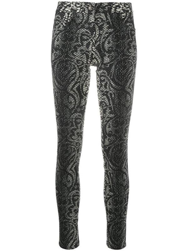 John Richmond cropped snakeskin print skinny trousers in black