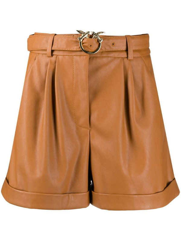 Pinko belted wide leg shorts in brown