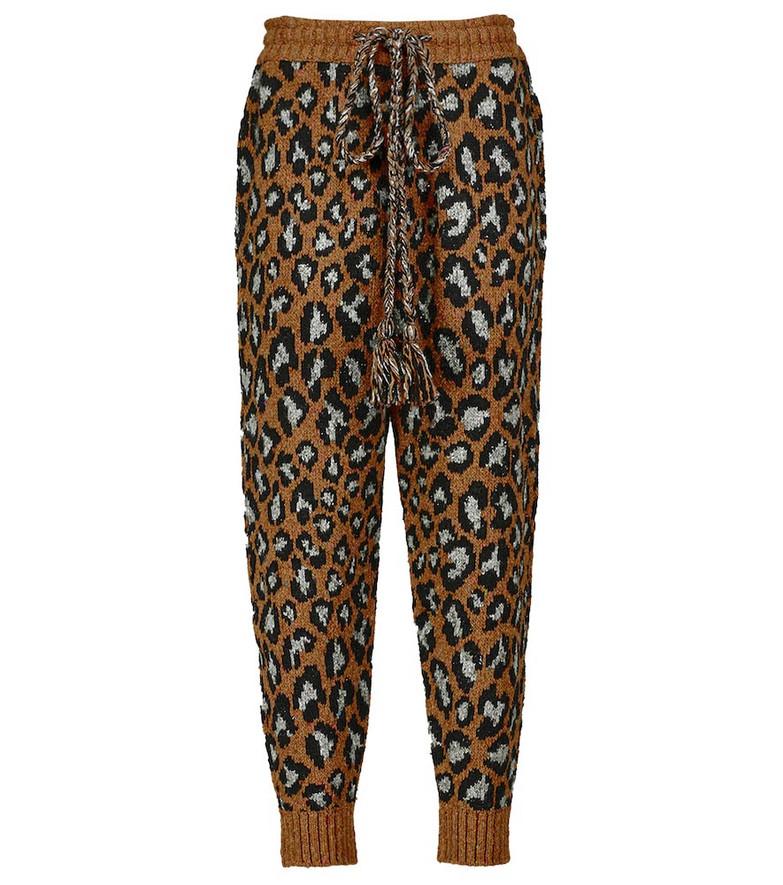 ALANUI Leopard intarsia-knit sweatpants