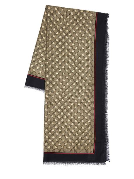 GUCCI Gg Silk & Modal Scarf in black / red
