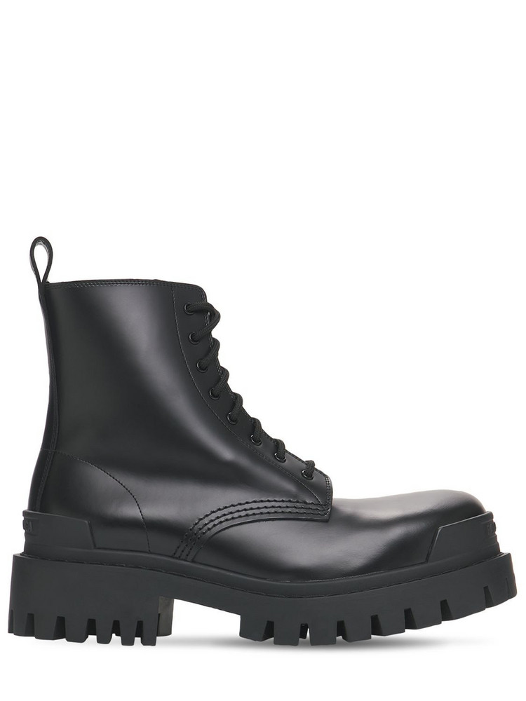 BALENCIAGA 60mm Strike Leather Combat Boots in black