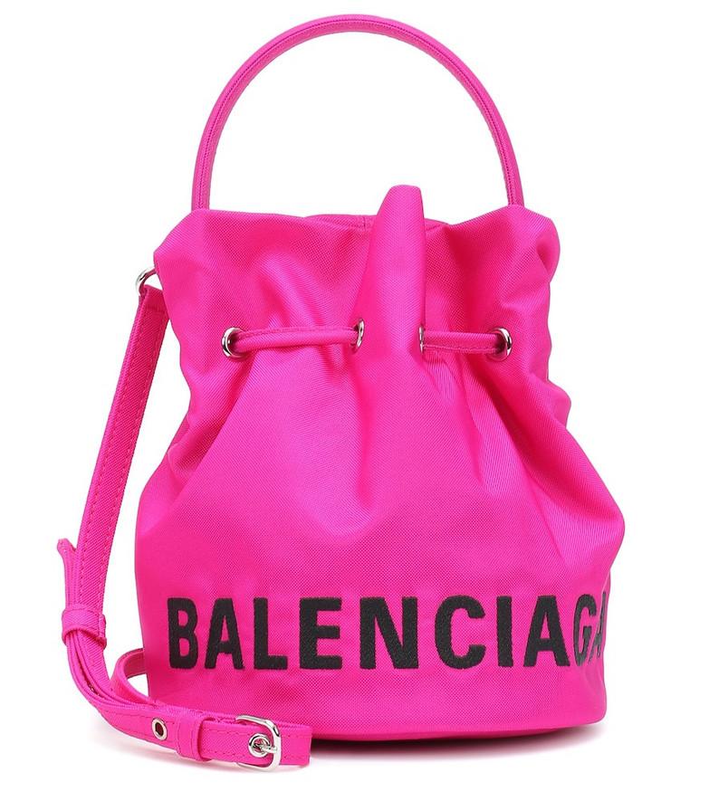 Balenciaga Wheel XS nylon bucket bag in pink