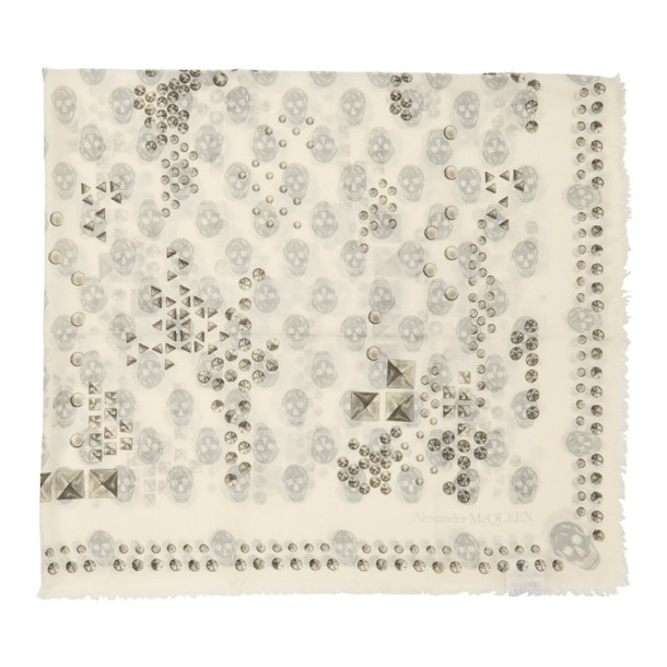 Alexander McQueen White and Grey Studded Skull Scarf