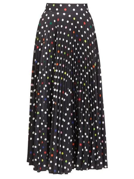 Christopher Kane - Pleated Polka-dot Twill Midi Skirt - Womens - Black
