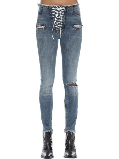 UNRAVEL Lace-up Skinny Leg Cotton Denim Pants in blue