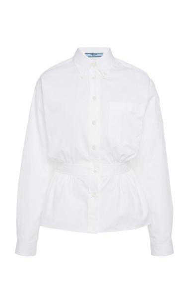 Prada Gathered Button Down Shirt in white
