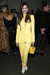 pants,blazer,yellow,jacket,victoria justice,celebrity,fashion week