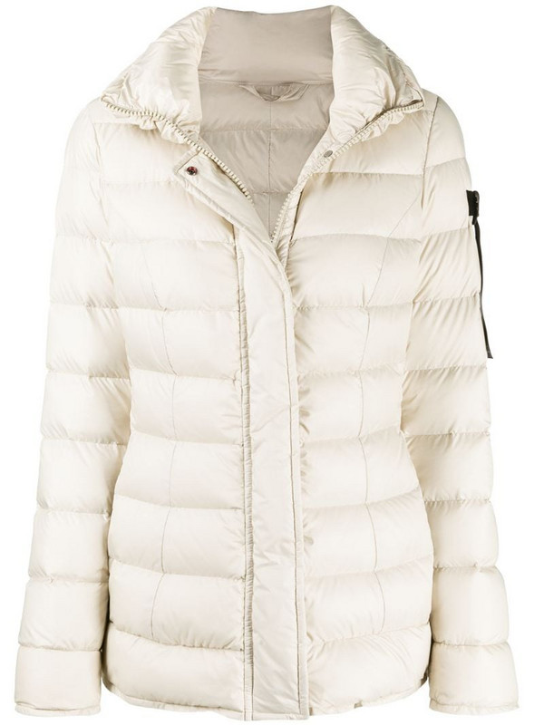 Peuterey high neck quilted jacket in neutrals