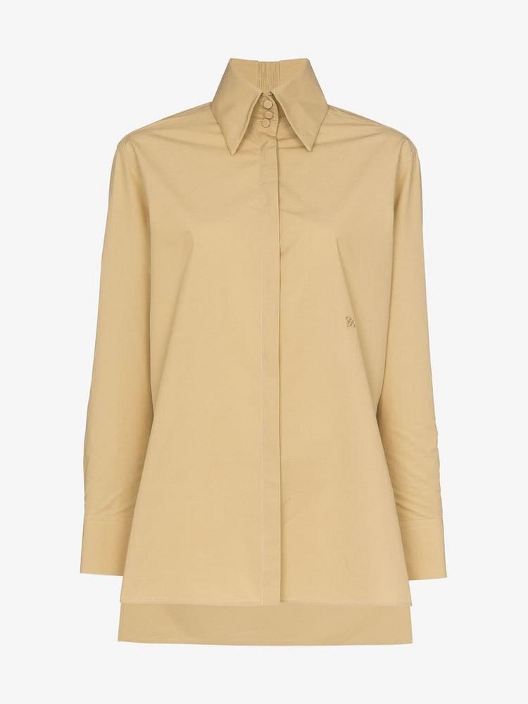 Fendi Edwardian Collar Cotton Shirt in brown