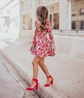 dress,mini dress,long sleeve dress,floral dress,pumps,high heel pumps,v neck