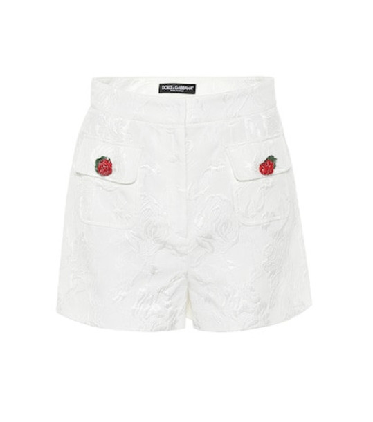 Dolce & Gabbana Cotton and silk jacquard shorts in white