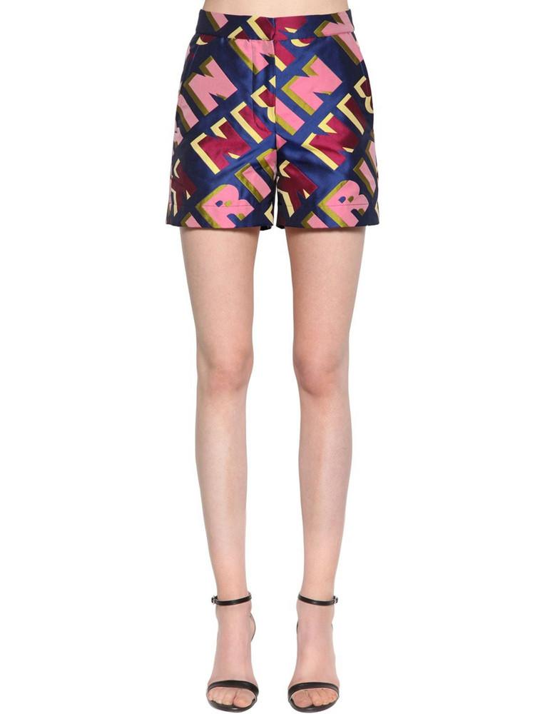 KIRIN Typo Logo Jacquard Shorts in blue / pink