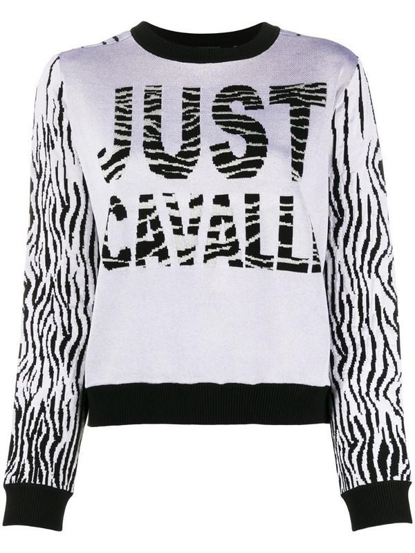Just Cavalli color-block intarsia knit jumper in grey