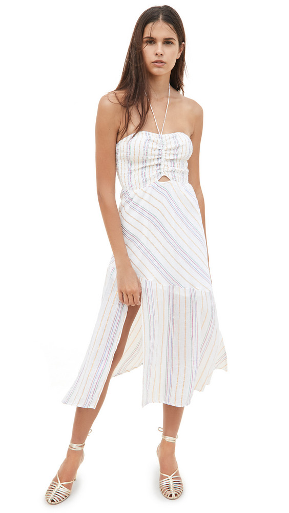 Suboo Giselle Shirred Strapless Midi Dress in ivory