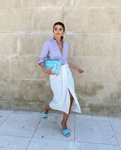 skirt,white skirt,midi skirt,wrap skirt,sandal heels,shirt,bag