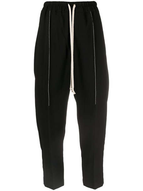 Rick Owens high-rise drawstring cropped trousers in black