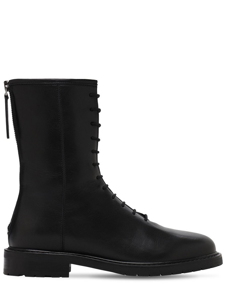 LEGRES 20mm Leather Combat Boots in black