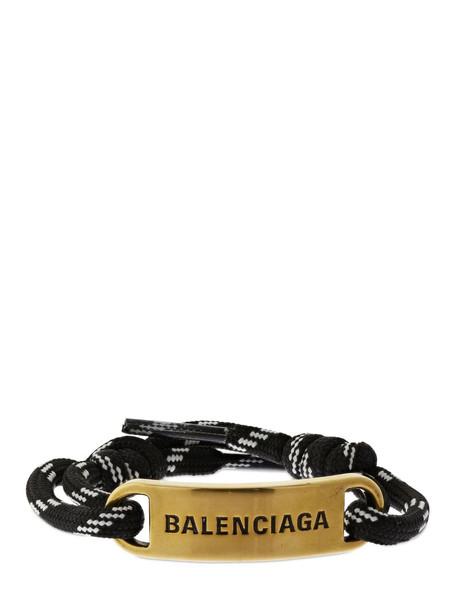 BALENCIAGA Plate Bracelet W/ Logo Detail in black / white