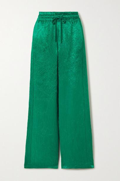 Sies Marjan - Alima Crinkled-satin Track Pants - Emerald