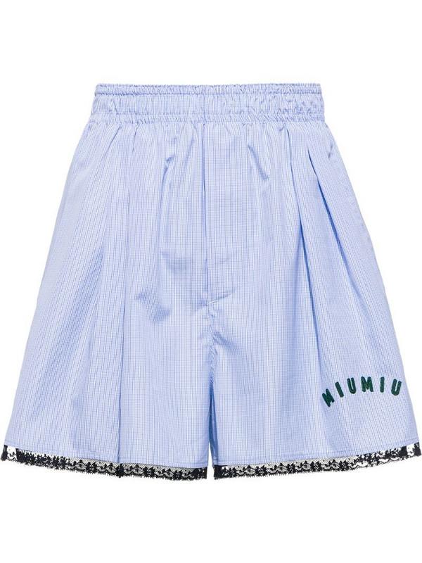 Miu Miu check-print poplin shorts in blue