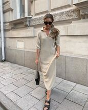 shoes,flat sandals,chanel,midi dress,knitted dress,black bag