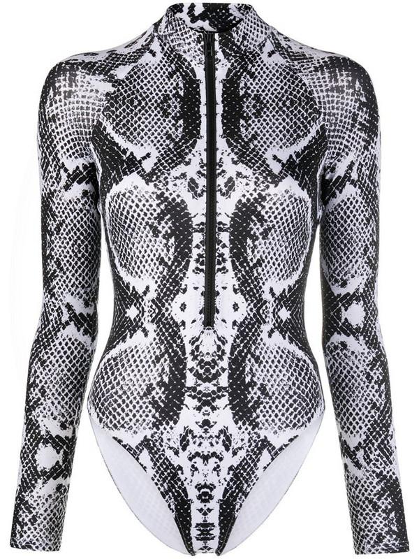 Noire Swimwear snakeskin print zip-up swimsuit in black