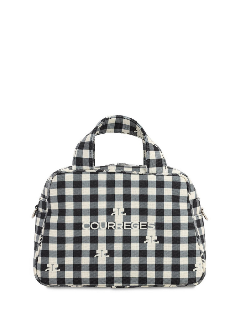 COURREGES Printed Top Handle Bag in black / white