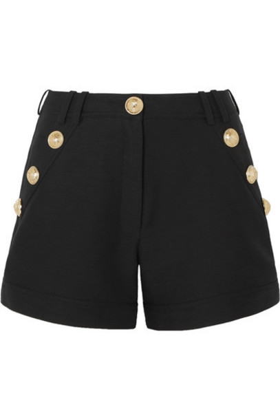 Balmain - Button-embellished Cotton-faille Shorts - Black