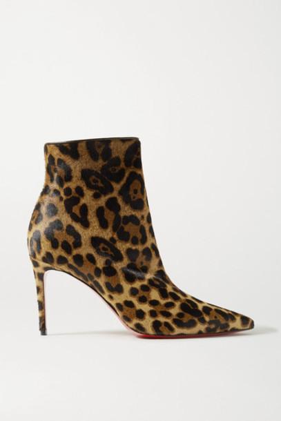 Christian Louboutin - So Kate Booty 85 Leopard-print Calf Hair Ankle Boots - Leopard print