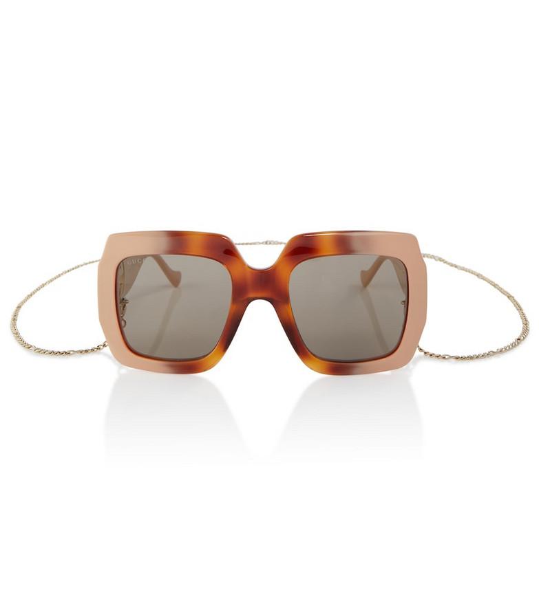 Gucci Chain-trimmed square sunglasses in beige