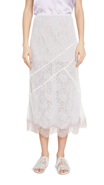 Anais Jourden Lace Midi Skirt with Metallic Lace Hem
