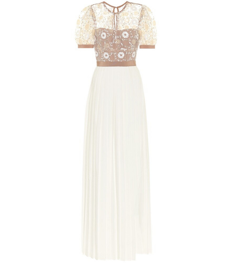 Self-Portrait Embellished mesh and crêpe gown in white