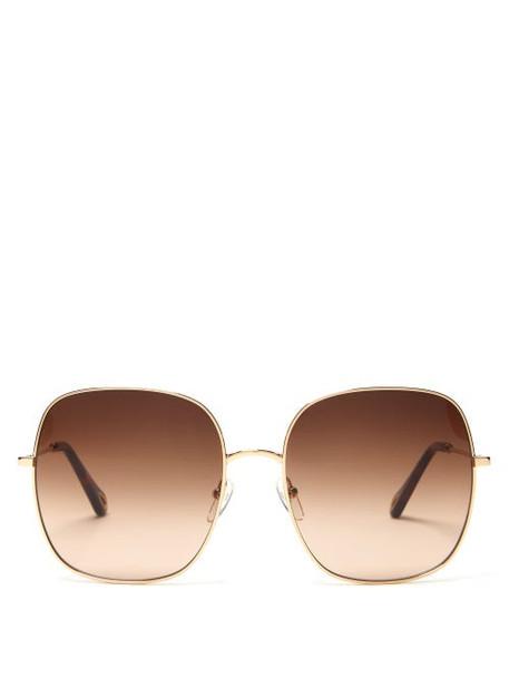 Chloé Chloé - Eliz Square Metal Sunglasses - Womens - Brown Gold
