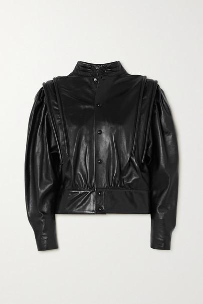 ISABEL MARANT - Lars Leather Blouse - Black