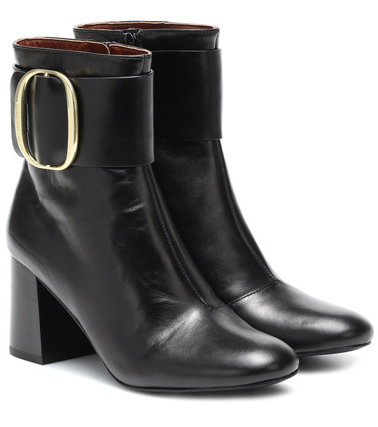 See By Chloé Leather ankle boots in black