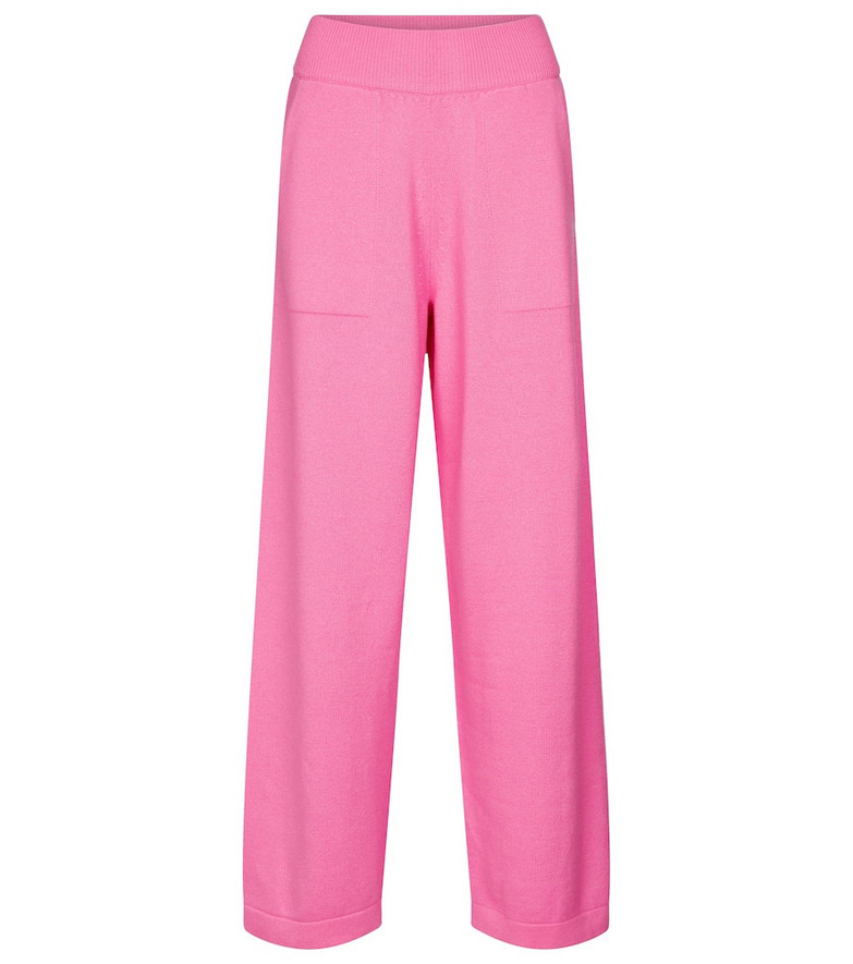 Barrie High-rise wide-leg cashmere pants in pink