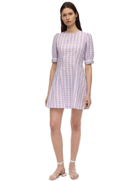 BAUM UND PFERDGARTEN Printed Poplin Mini Dress in lilac / white