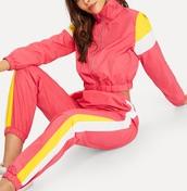 jumpsuit,girly,girl,girly wishlist,tracksuit,matching set,joggers,pink,yellow,white,zip,crop,cropped jacket
