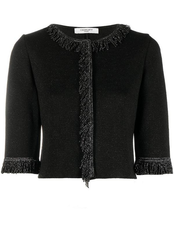 Charlott fringe-embellished cropped cardigan in black